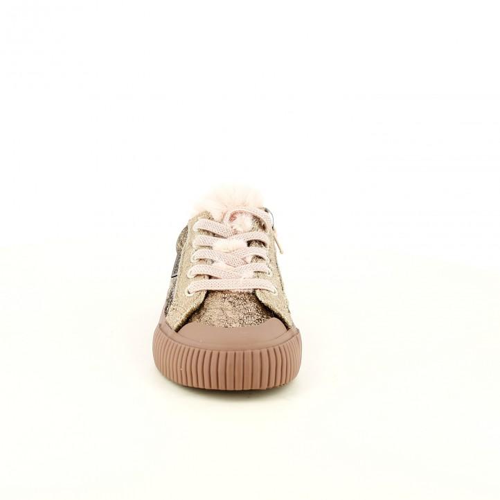zapatillas lona VICTORIA con pelo rosa - Querol online