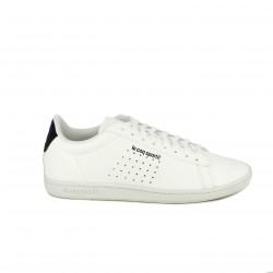 zapatillas deportivas LE COQ SPORTIF blancas y azul marino con cordones - Querol online