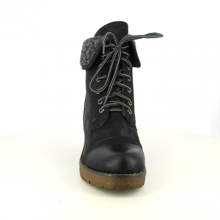 botins de taló OWEL negres amb cordons - Querol online