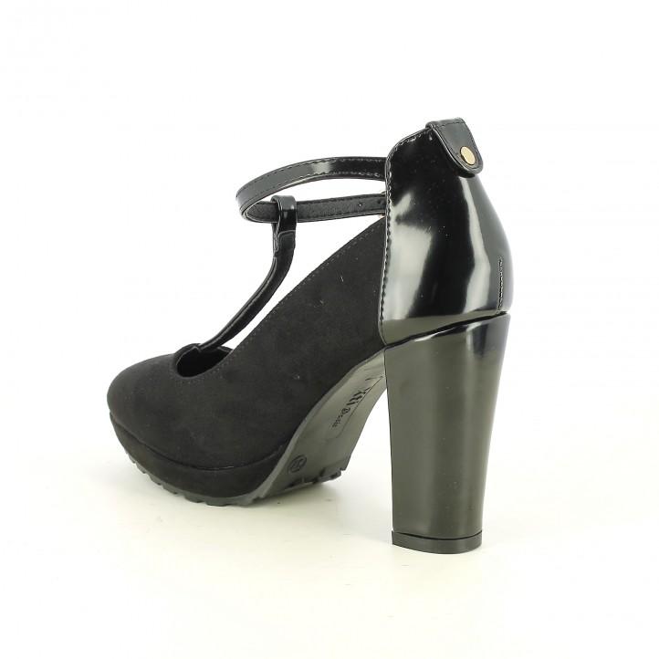 zapatos tacón XTI t-strap negras cerradas - Querol online