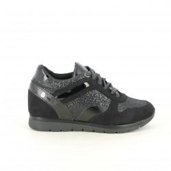 zapatillas deportivas XTI negras con glitter y cuña - Querol online