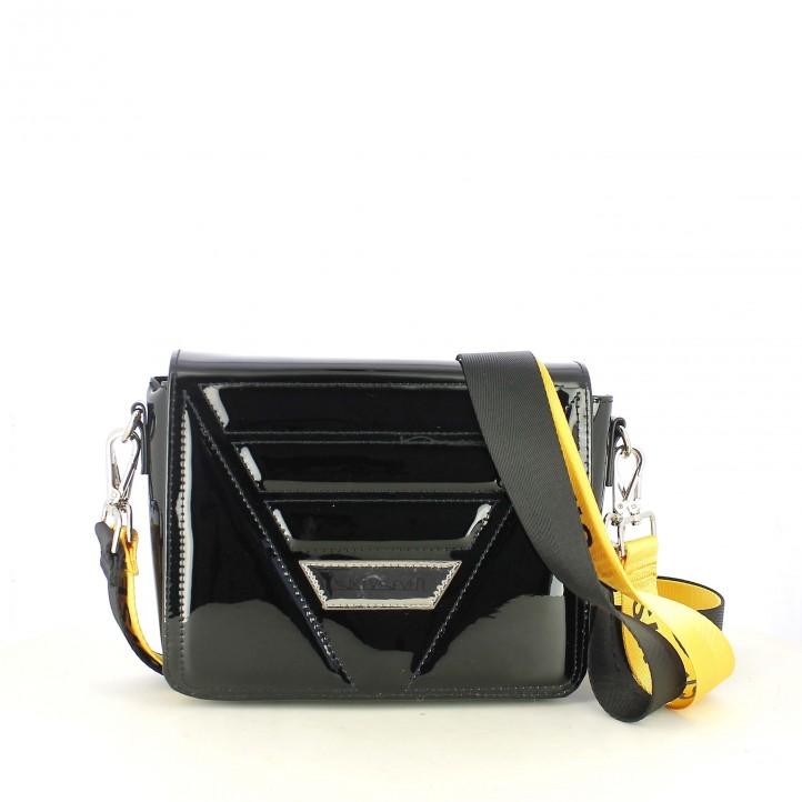 complementos SixtySeven 67 bolso negro de charol con asa negra y amarilla - Querol online