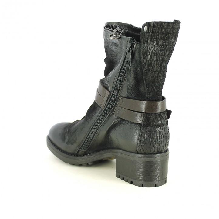 botines tacón MJUS negros de piel con cremalleras y hebilla - Querol online
