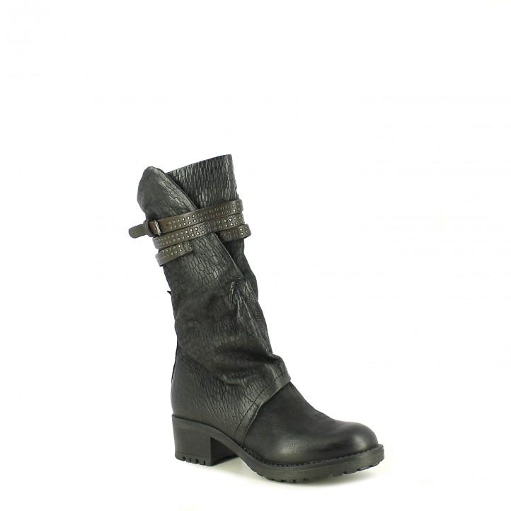 botas tacón MJUS negras de piel con animal print - Querol online