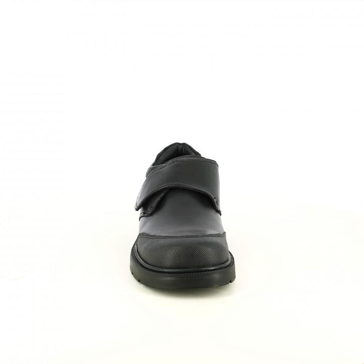 zapatos QUETS! negros de piel con velcro y puntera - Querol online