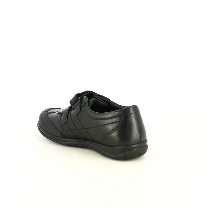 zapatos QUETS! negras de piel con dos velcros - Querol online