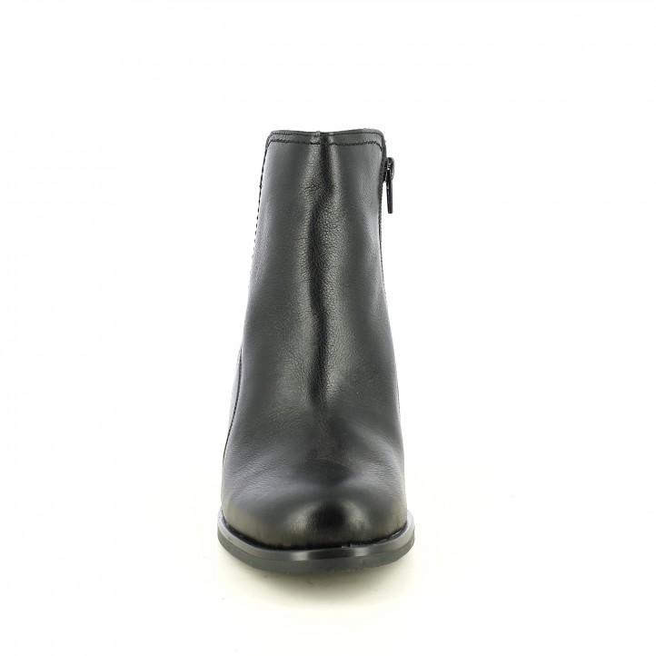 botins de taló SUITE009 negres de pell amb tres elàstics - Querol online