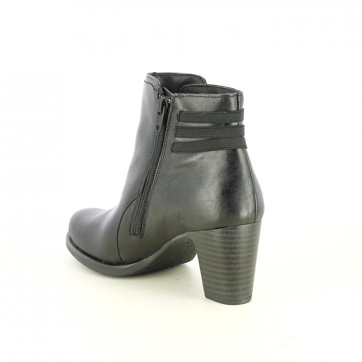 botines tacón SUITE009 negros de piel con tres elásticos - Querol online