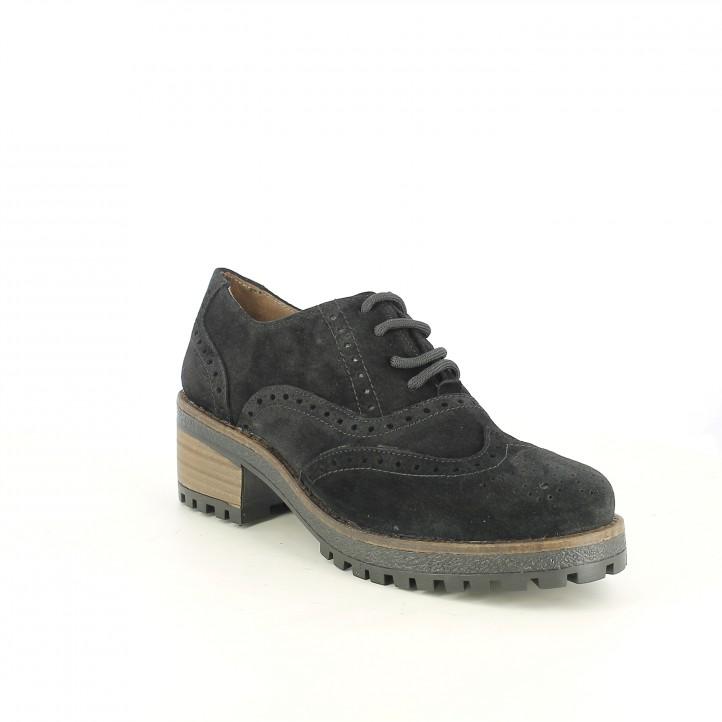 zapatos tacón REDLOVE oxford negros de piel con brogue - Querol online