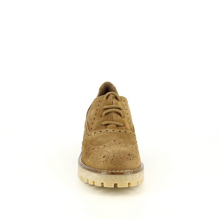 sabates de taló REDLOVE oxford marrons de pell amb brogue - Querol online