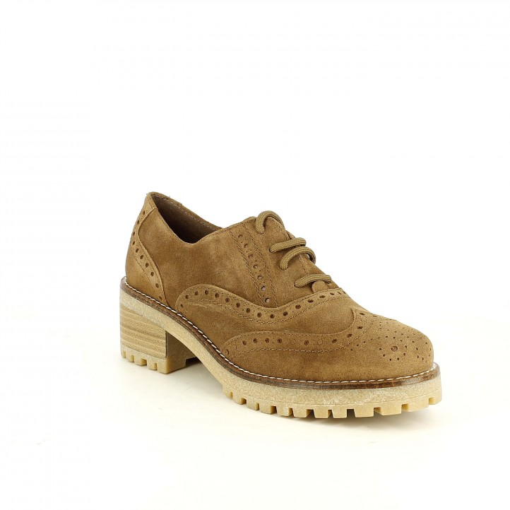 zapatos tacón REDLOVE oxford marrons de piel con brogue - Querol online