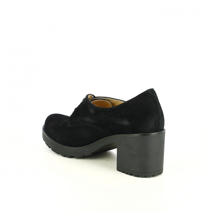 zapatos tacón REDLOVE bluchers de serraje negro - Querol online