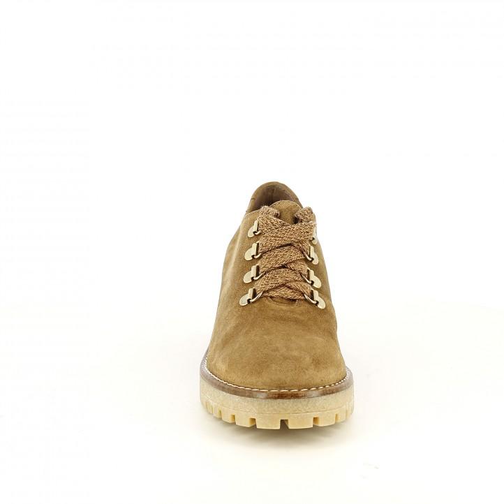 sabates de taló REDLOVE marrons de pell tancades amb cordons - Querol online