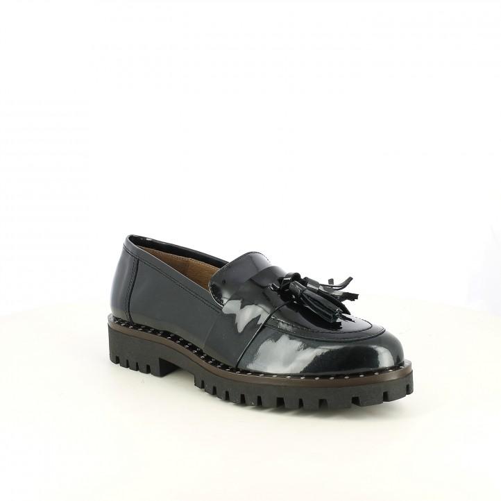 sabates planes REDLOVE mocassins negres de xarol amb borles - Querol online
