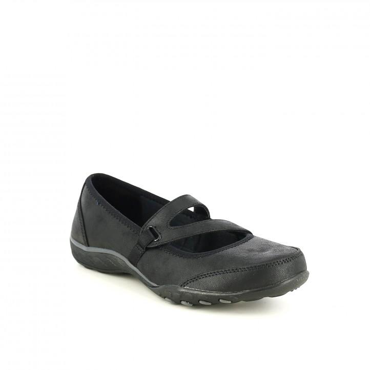 zapatos planos SKECHERS negros con memory foam - Querol online