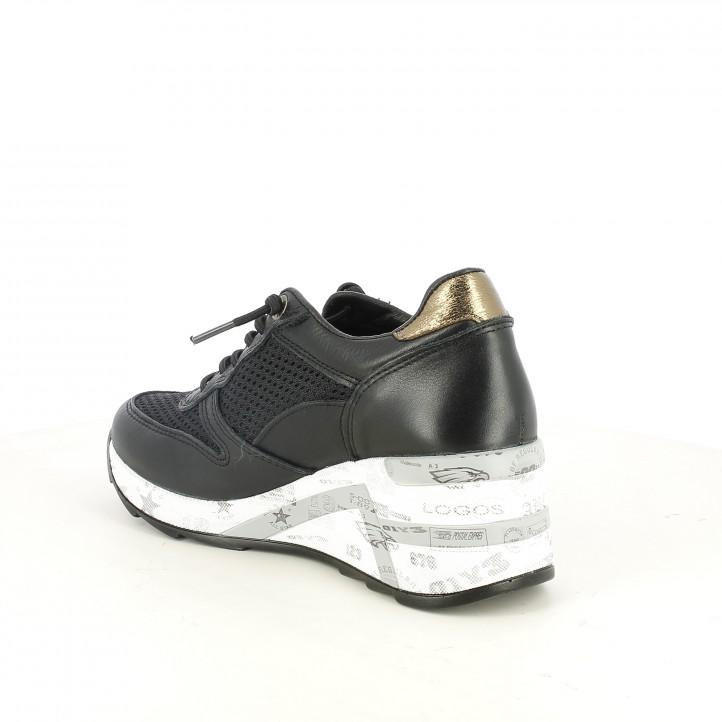 zapatillas deportivas CETTI negras con cuña - Querol online