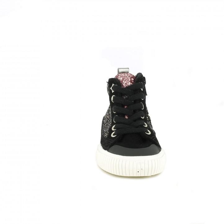 zapatillas lona VICTORIA negras con purpurina - Querol online