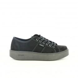 zapatillas lona VICTORIA negras con cordones - Querol online