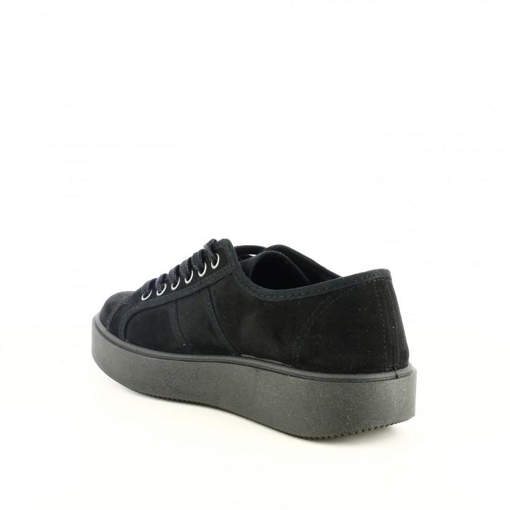 Querol Lona O14o5q Zapatillas Cordones Online Victoria Negras Con wqFI44