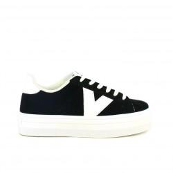 7990df2b1e zapatillas lona VICTORIA negras y blancas con cordones y plataforma - Querol  online