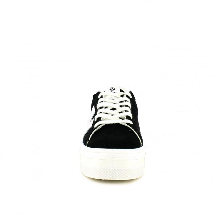 zapatillas lona VICTORIA negras y blancas con cordones y plataforma - Querol online