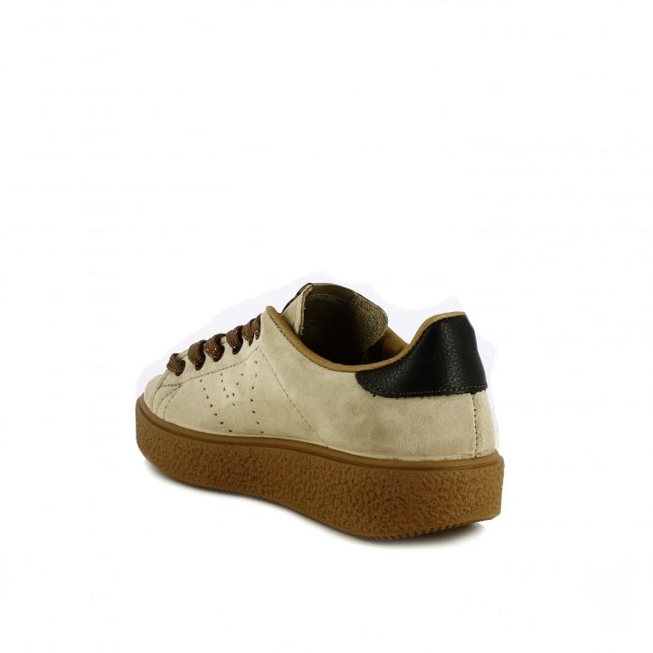 zapatillas lona VICTORIA marrones piel con plataforma - Querol online