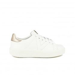 zapatillas deportivas VICTORIA blancas y metalizadas de piel - Querol online