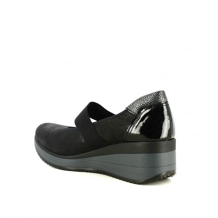 sabates de falca SUITE009 negres de pell amb goma elàstica - Querol online
