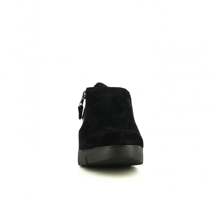 cuñas SUITE009 negras de piel con cremalleras - Querol online