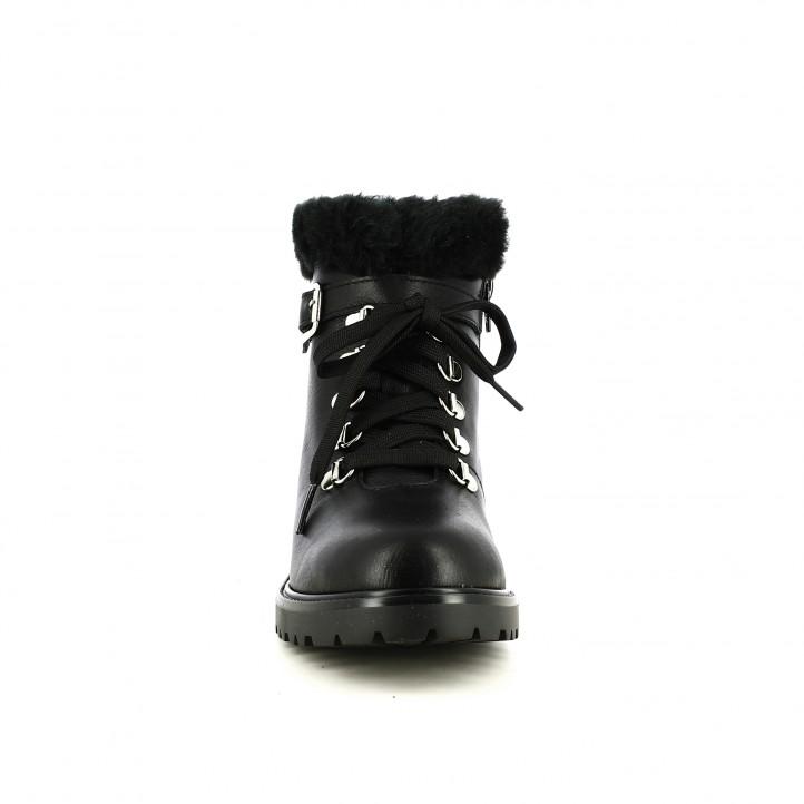 botins de taló REDLOVE negres de pell amb pèl i cordons - Querol online