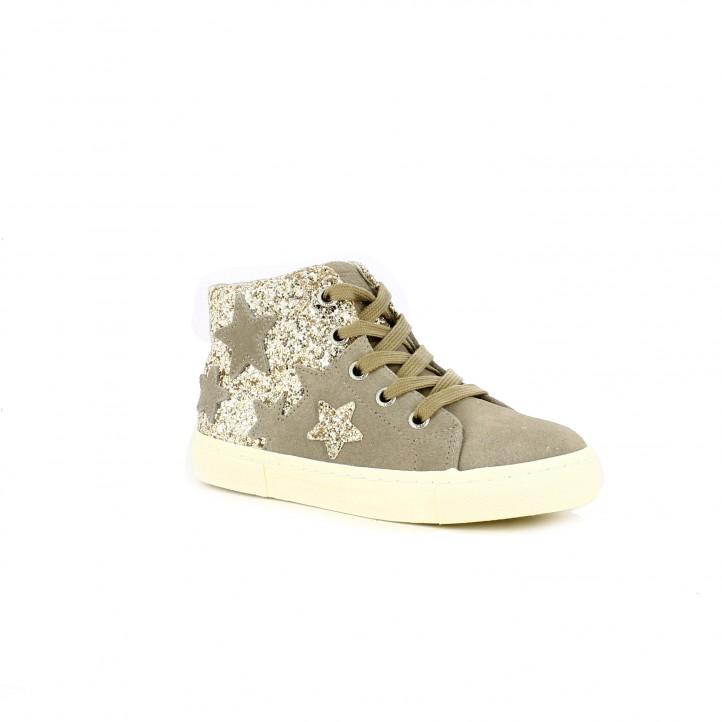 zapatillas lona GIOSEPPO marrones de piel con estrellas - Querol online