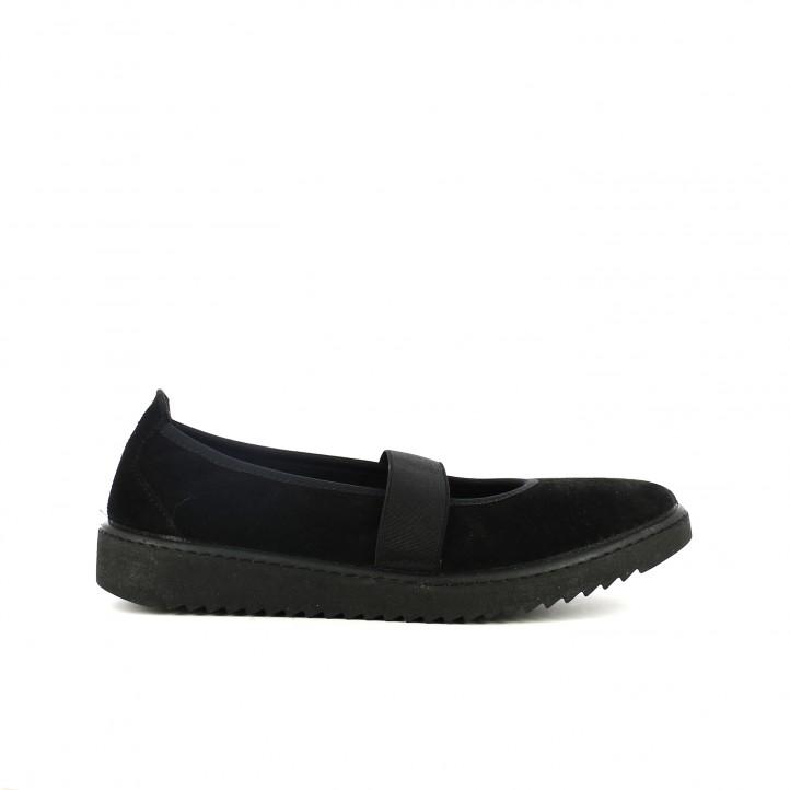 sabates planes VUL·LADI negres de pell amb gomes - Querol online
