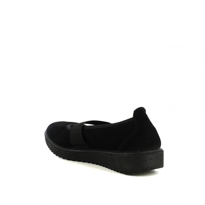zapatos planos VUL·LADI negros de piel con gomas - Querol online