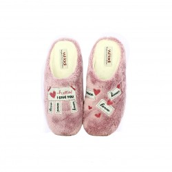 zapatillas casa VUL·LADI rosas con mensaje - Querol online
