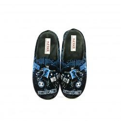 zapatillas casa VUL·LADI futbol negras y azules - Querol online
