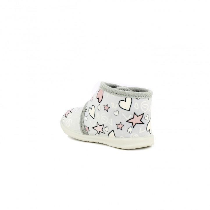 zapatillas casa VUL·LADI cerradas grises con estrellas y corazones - Querol online