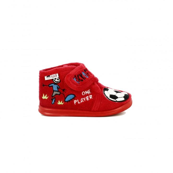 zapatillas casa VUL·LADI cerradas rojas futbol - Querol online