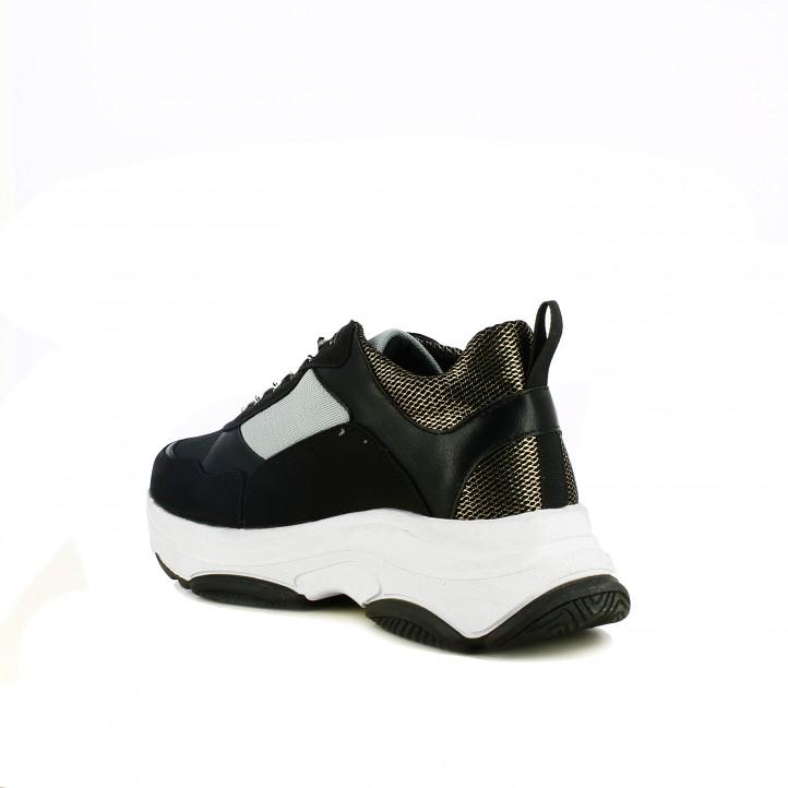 zapatillas deportivas OWEL negras, grises y doradas con plataforma - Querol online