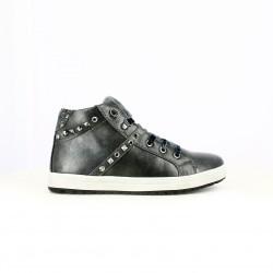 zapatillas lona ASSO grises con pelo y cordones de terciopelo - Querol online