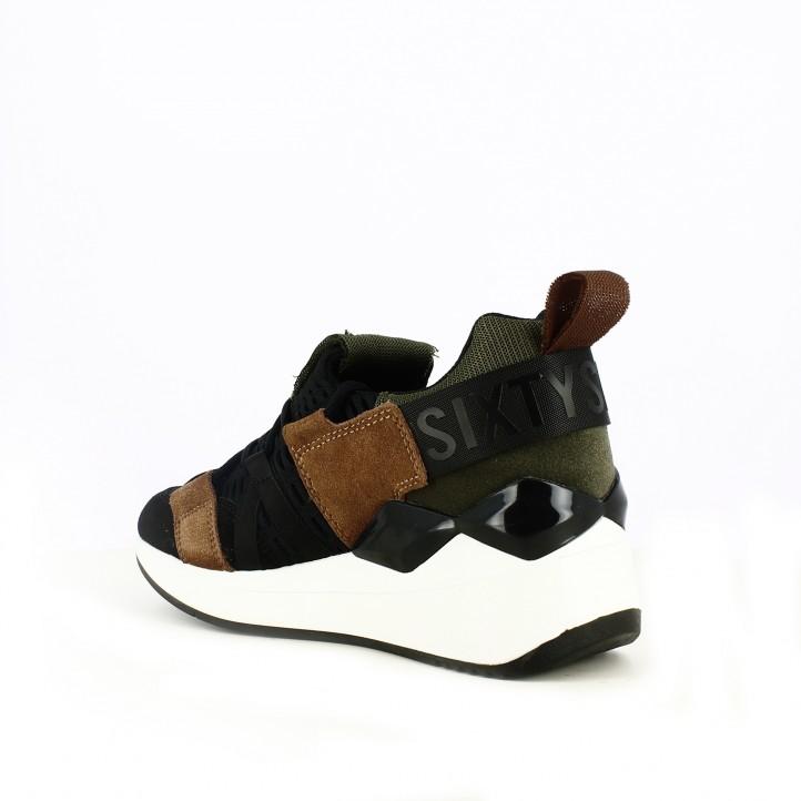 zapatillas deportivas SixtySeven 67 verdes, marrones y negras con cuña - Querol online