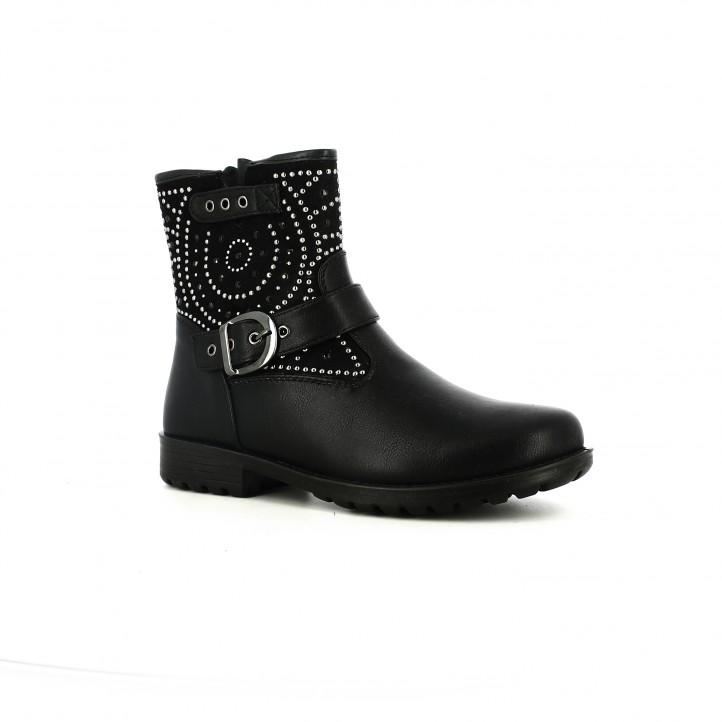 botines ASSO negros con tachuelas y hebillas - Querol online