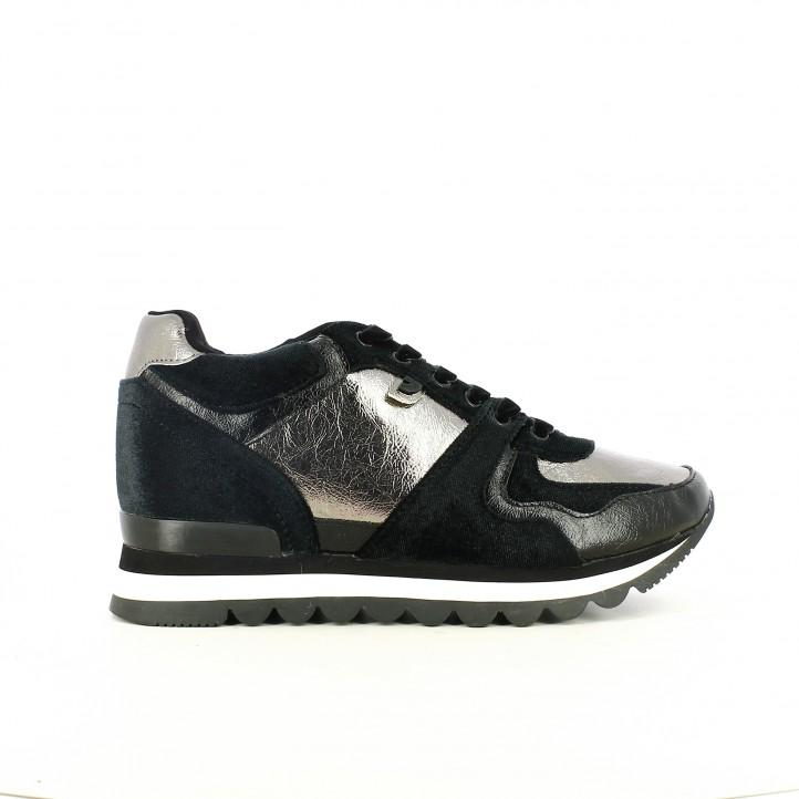 zapatillas deportivas GIOSEPPO negras y plateadas con cuña interior - Querol online