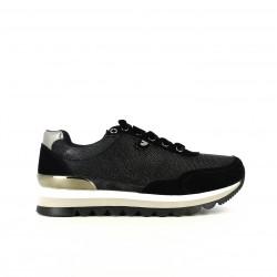 zapatillas deportivas GIOSEPPO negras y plateadas con cordones de terciopelo - Querol online