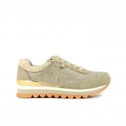 zapatillas deportivas GIOSEPPO taupe y doradas con cordones de terciopelo - Querol online