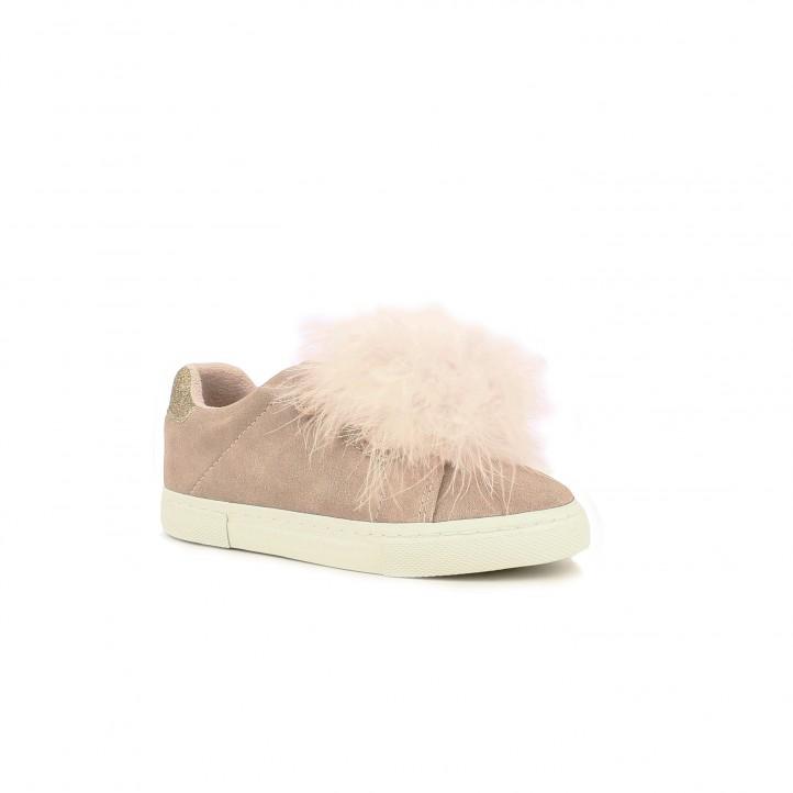zapatillas lona GIOSEPPO rosas de piel con pompones - Querol online