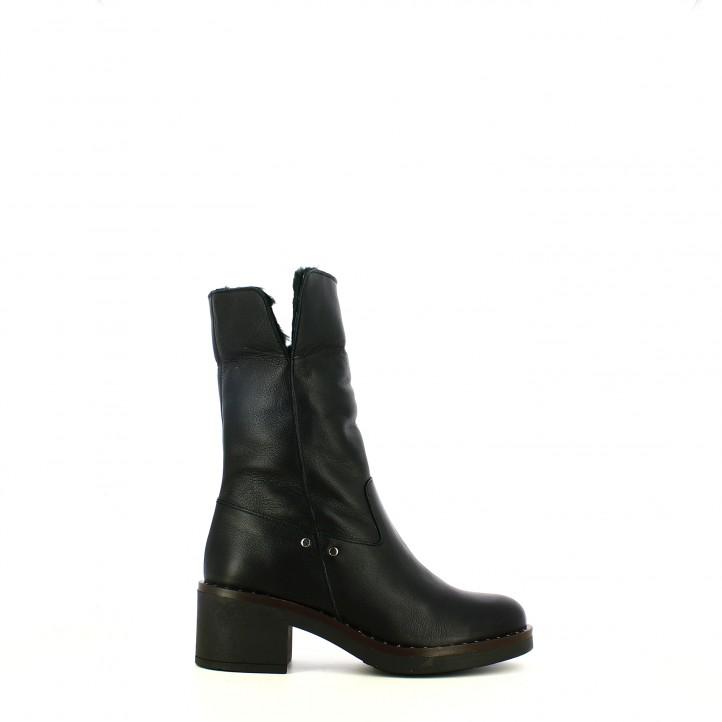 botas tacón REDLOVE negras de piel con pelo - Querol online
