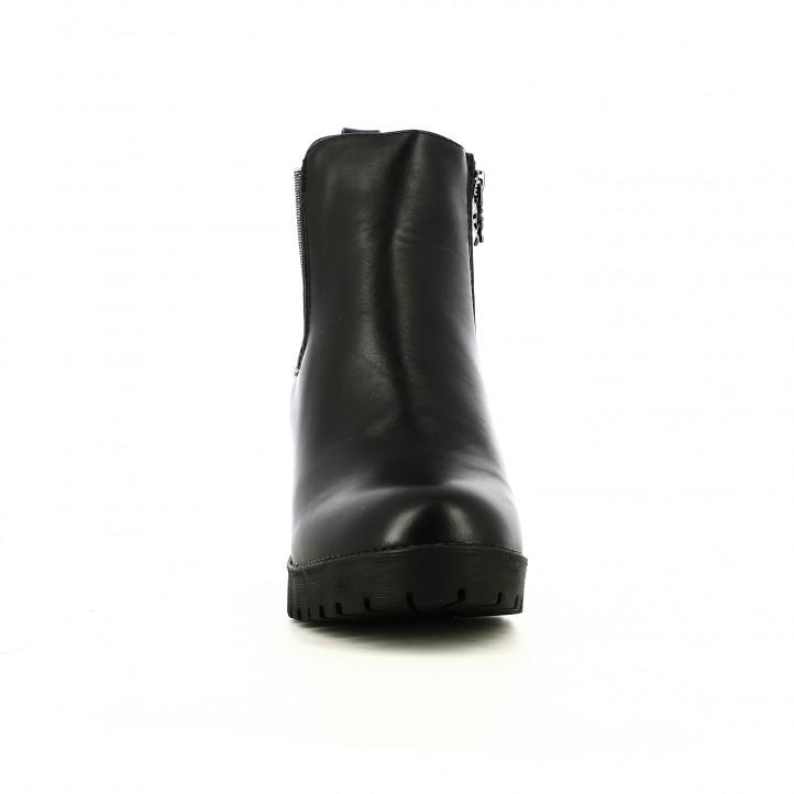 botines tacón XTI chelsea negros con elásticos plateados - Querol online