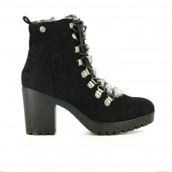 botins de taló XTI negres amb pèl gris - Querol online