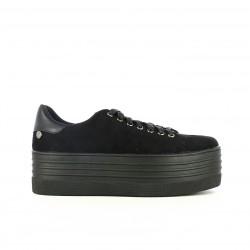 zapatillas lona XTI negras con plataforma y cordones - Querol online