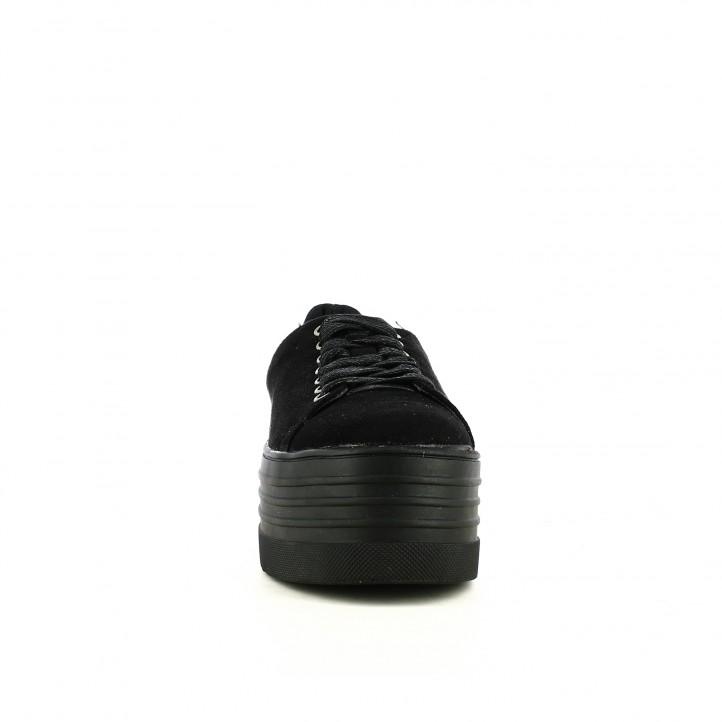 sabatilles lona XTI negres amb plataforma i cordons - Querol online